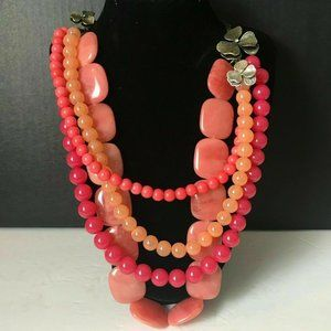 Fossil Pink Coral Multi-Strand Beaded Necklace